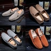 Men Shoes Leather Casual Driving Shoes 2020 Fashion Suede Men Loafers Man Moccasins Slip On Men's Flats Loafer Male Shoes Orange