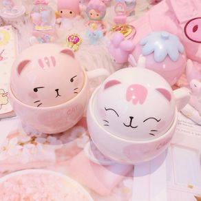 [DODO Town]Cute cat mug with lid couple girl heart home water cup creative trend ceramic mug coffee cup